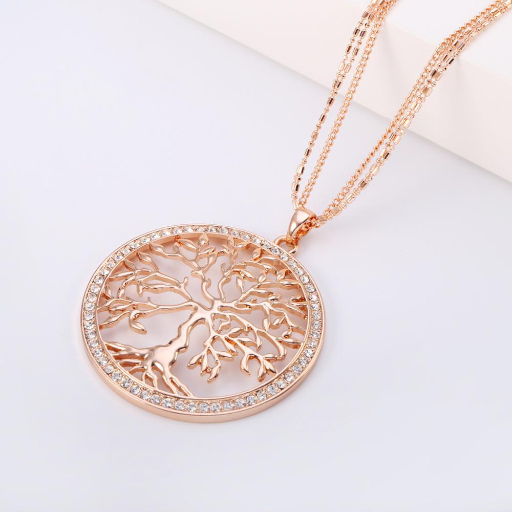 Женское ожерелье с подвеской в виде большого дерева из розового золота, круглое многослойное длинное ожерелье, модные украшения, подарок для мамы Ожерелья с подвеской      АлиЭкспресс