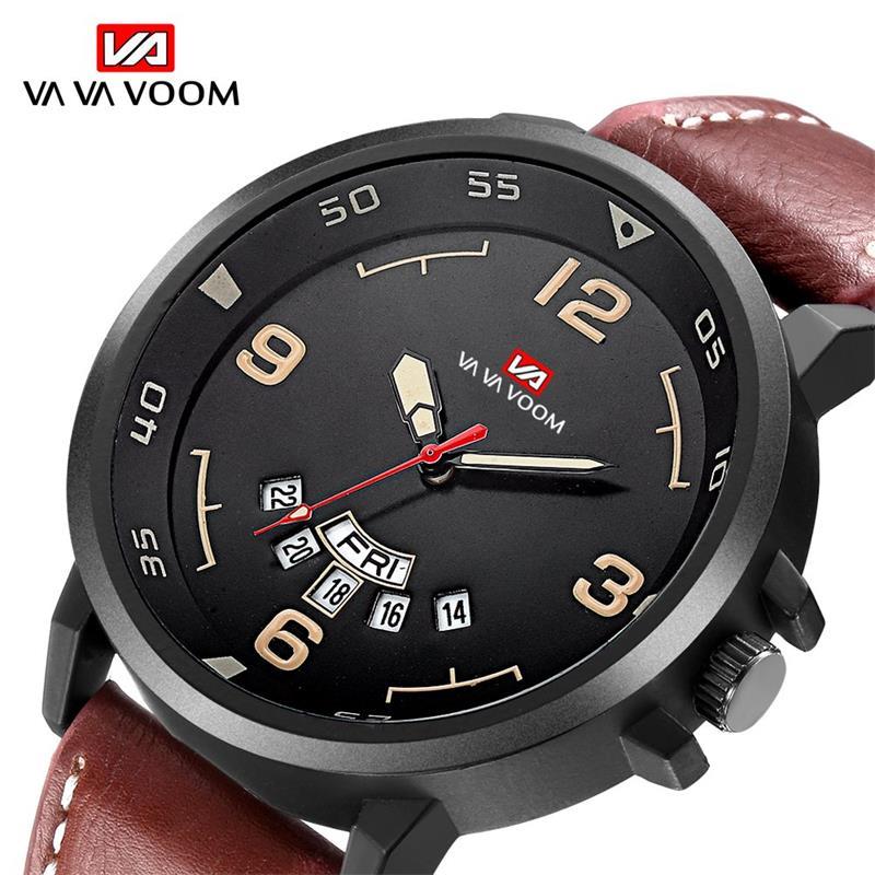 VA VA VOOM High Quality Men Watch Sport Casual Quartz Watches Date Week Display Wristwatch Leather Band Watch montre homme