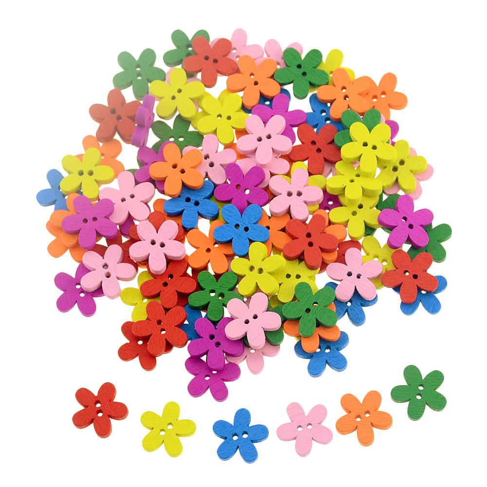 100Pcs/Set 2-Hole Mix Color Plum Flower Shape Wooden Buttons For Sewing Scrapbooking Craft Technological Garment Accessories(China)