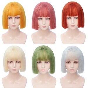 Image 5 - Perruques courtes marron perruques courtes Style Bob perruque de femmes noires synthétiques droites avec frange 12 pouces perruque Blonde cheveux doux