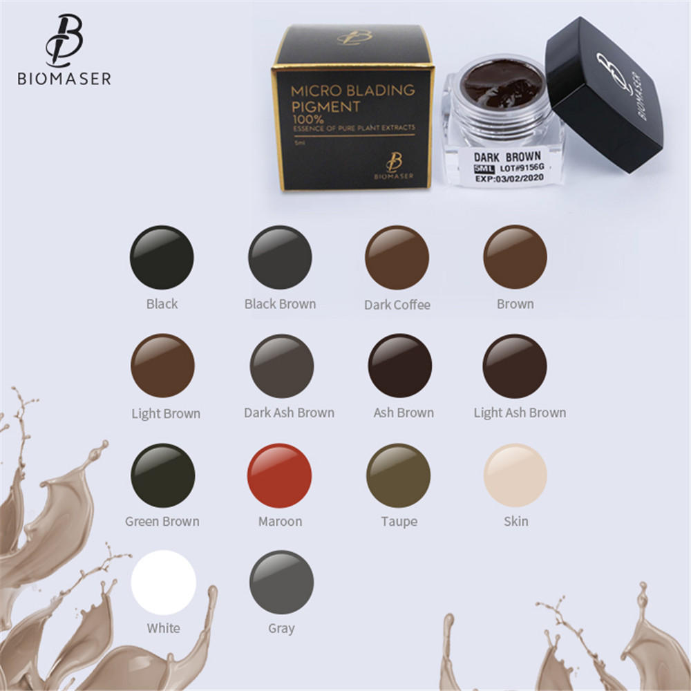 Biomaser Microblading Pigment For Eyebrow Lips Tattoo Ink Permanent Makeup Paint Brown Pigment Semi Tattoo Color Inks