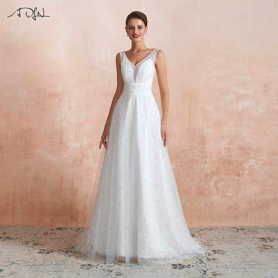 ADLN Sexy Double V-neck Backless Wedding Dresses Robe De Mariee Sleeveless Lace Pearls Tulle A-line Wedding Gown Customized