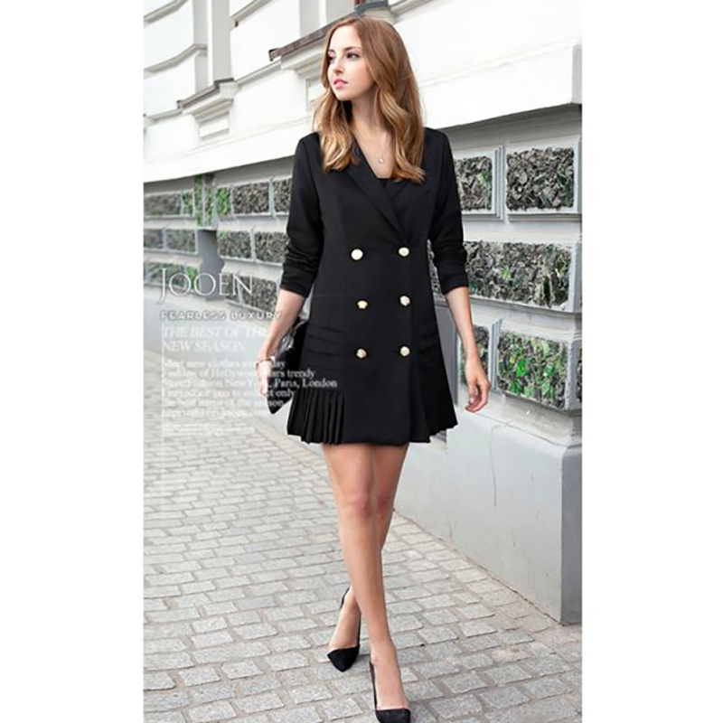 DRESS New Autumn Winter Women Pleated Blazers Lapel Long-sleeved OL Suits Jacket Double-breasted V-Neck Coat Long Suit Outwear