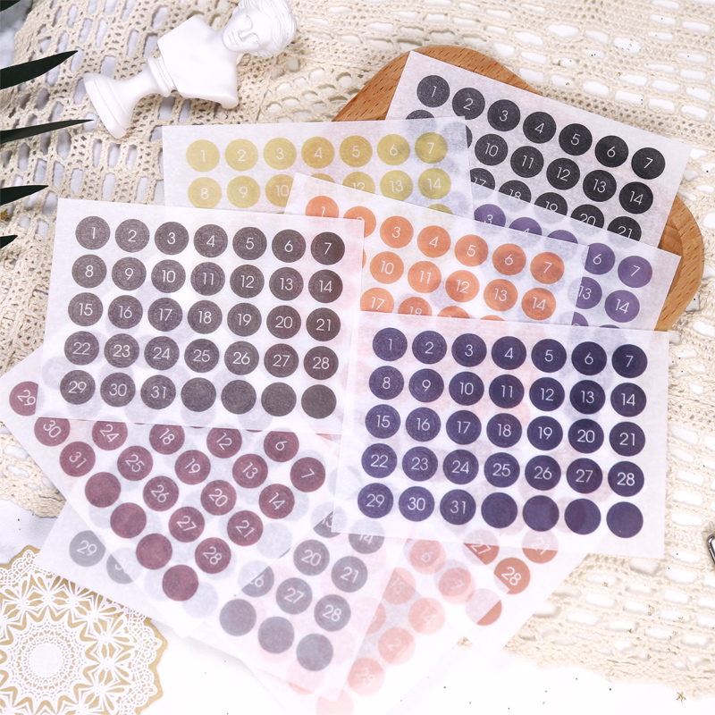 Fromthenon Round Number Sticker 365 Daily Days Stickers For 2020 Full Year Bullet Journal Supplies Planner Decorative Stationery