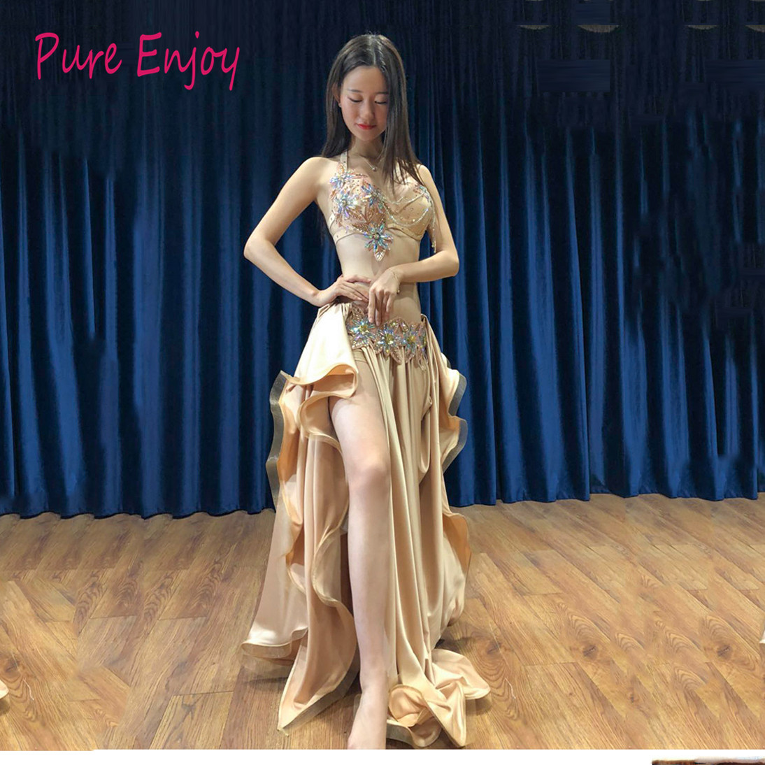 Women Oriental Dance luxury bra+skirt+belt 3pcs Belly Dance advanced diamond dance suit Performance competition clothing