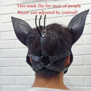 Image 4 - Imitation Leather Sexy Toy Puppy Play Dog Cosplay Mask  Fetish Sex Hood Pet Role Accessories