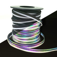 Bright Silver Rainbow Reflective Material Reflective Piping Fabric Strip Edging Braid Trim For Clothing Sew On 5M