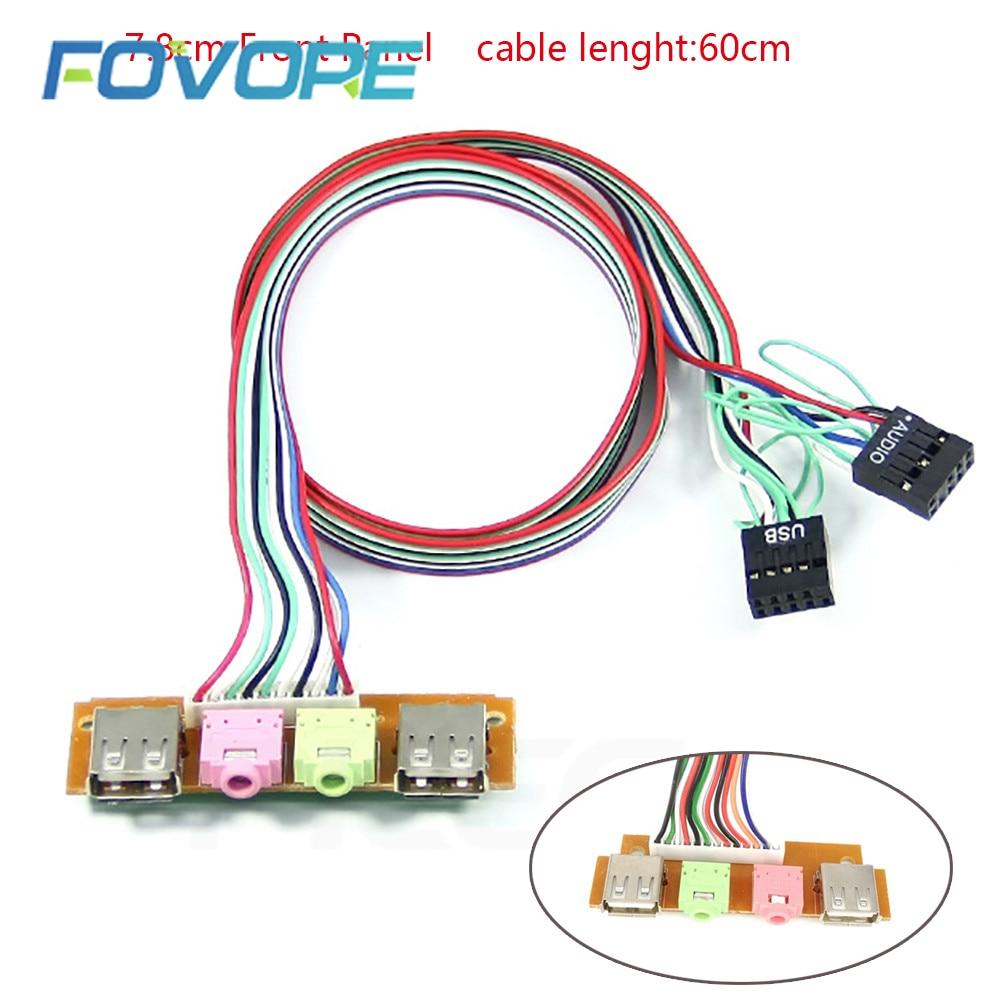 Boîtier pour ordinateur avec 2 ports USB, 7.8cm, panneau frontal, Port Audio, micro, câble sata, carte riser, connecteur rj45, dvi, d, vga, double psu