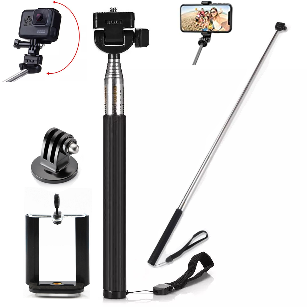 Extendable Handheld Selfie Stick Monopod + Mount Adapter For Gopro Hero 9 8 7 6 5 4 3 Sjcam Xiaoyi Eken H9r Sport Action Camera At Any Cost