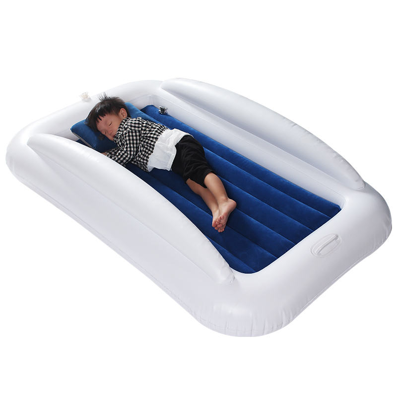 Inflatable Toddler Travel Bed With Safety Bumper For Camping Home Portable Blow Up Mattress For Kids With Built In Security Rail