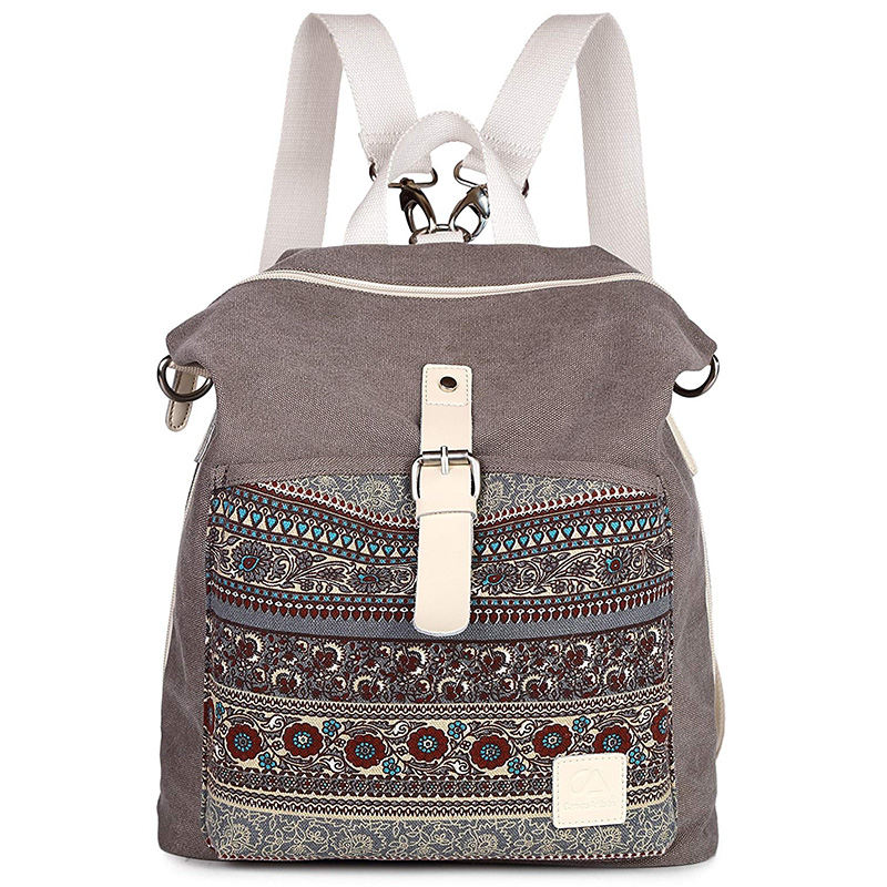 New Fashion Simple Backpack Trend Ladies Canvas National Wind