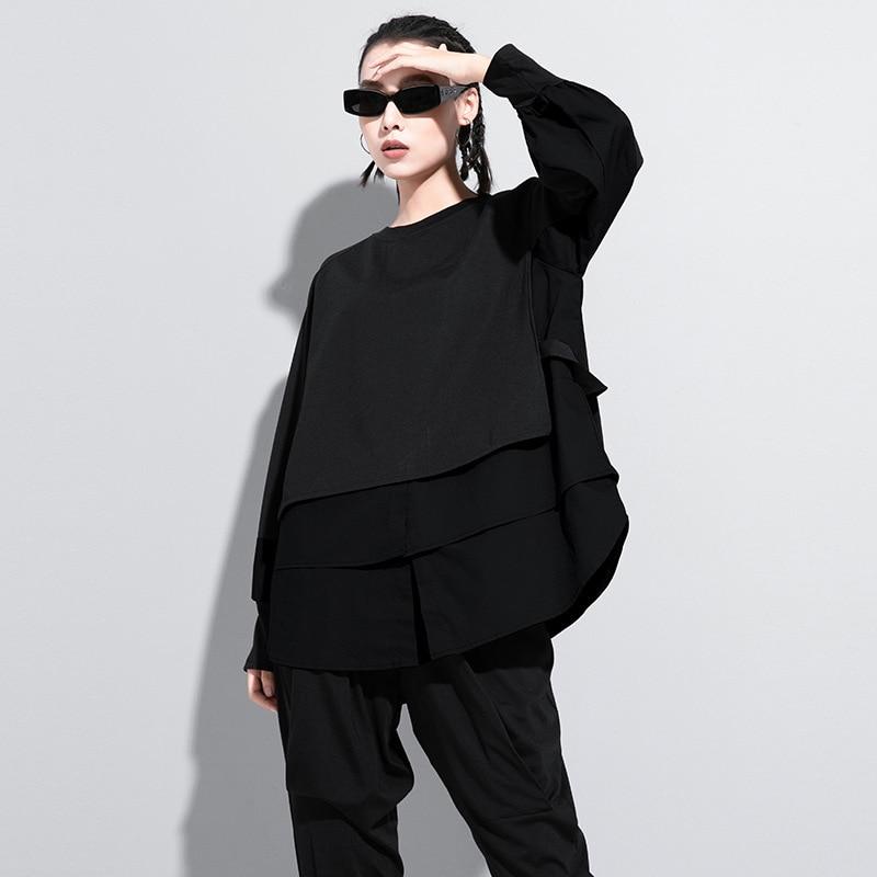 [EAM] Women Army Green Irregular Split Joint Big Size T-shirt New Round Neck Long Sleeve  Fashion Spring Autumn 2020 1DA608 2