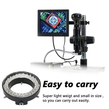 Adjustable 56 LED Ring Light Illuminator Lamp for Industry Stereo Microscope Camera Magnifier AC 90V-240V Power Adapter