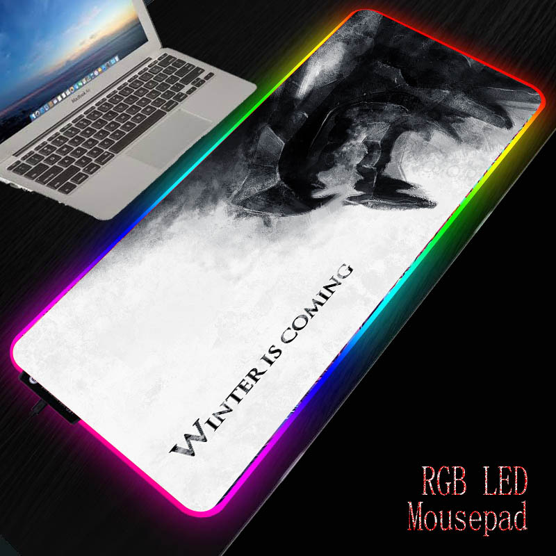 XGZ Winter Is Coming RGB Gaming Large Mouse Pad Gamer Led Computer Mousepad With Backlight Carpet For Keyboard Desk Mat 7 Colors