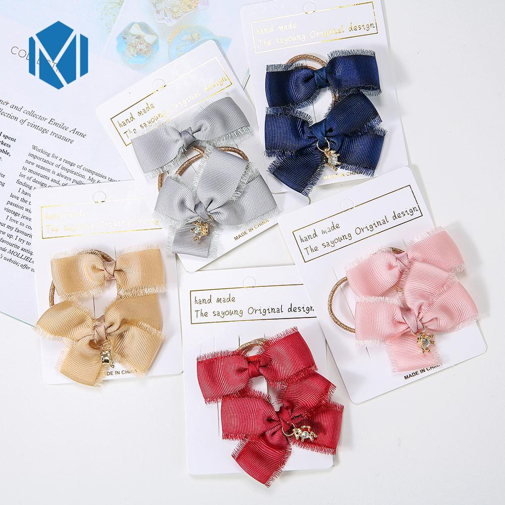 2pcs/Set Rhinestone Crown Ribbon Bow Hair Clips & Rubber Bands Full-Inclusive Alligator Hairpins Sweet Girls Hair Accessories