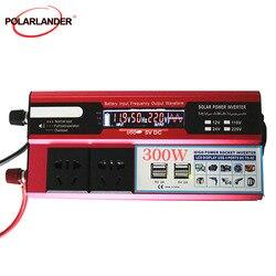 Przetwornice samochodowe napięcie konwerter zasilania Adapter zacisk krokodylkowy USB 300W transformator z ładowarką samochodową LCD 24 ~ 220V