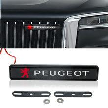 1 pçs frente chrome capa grille emblema led acessórios de luz para peugeot 206 107 108 207 308 307 508 2008 3008 automotivo bens