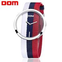 여성 시계 dom 브랜드 럭셔리 패션 캐주얼 석영 독특한 세련 된 할로우 해골 시계 나일론 스포츠 레이디 손목 시계 lp-205