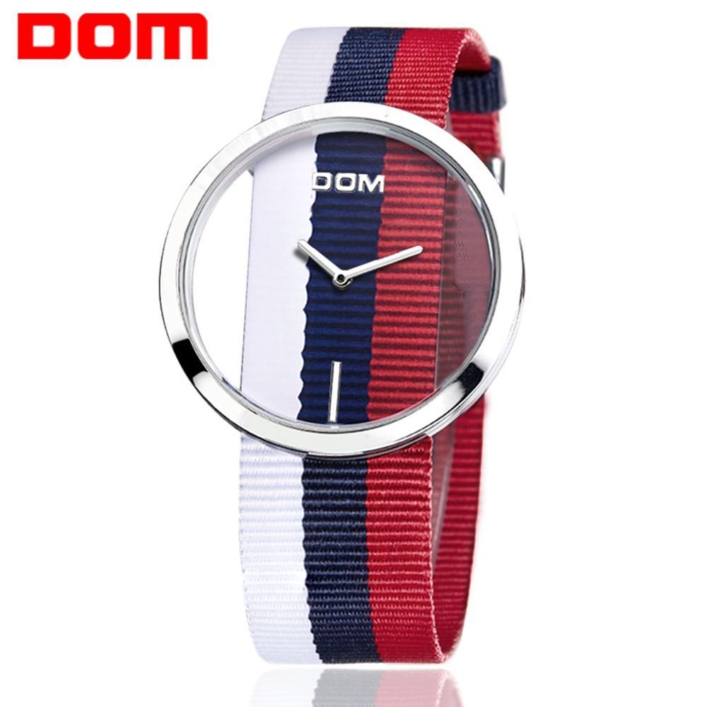 Women Watches DOM Brand Luxury Fashion Casual Quartz Unique Stylish Hollow Skeleton Watches Nylon Sport Lady Wristwatches LP-205