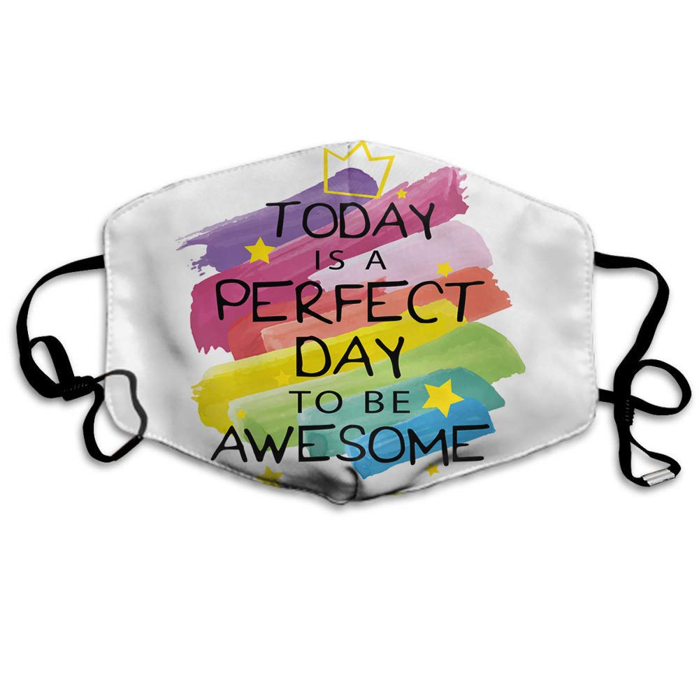 Swono Mask Quote,Funny Rainbow Inspirational Quote Today Is A Perfect Day To Be Awesome Polyester Anti Dust Face Mask-Washable