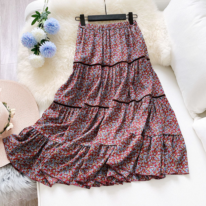 Meyooe Women Midi Skirt High Waist Floral Print Pleated Ruffled Casual Skirt For Women Femme