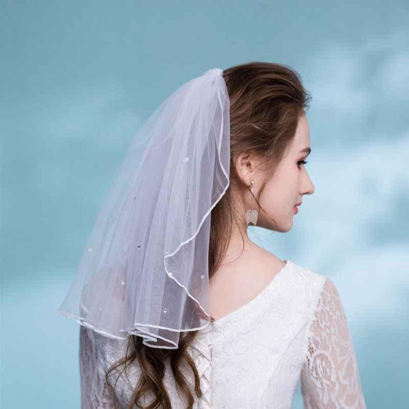 Tüll Hochzeit Kleid Schleier Weiß Band Rand Strass Gefälschte Perlen Kurze Braut Haar Schleier Kamm Braut Fee Ehe Zubehör