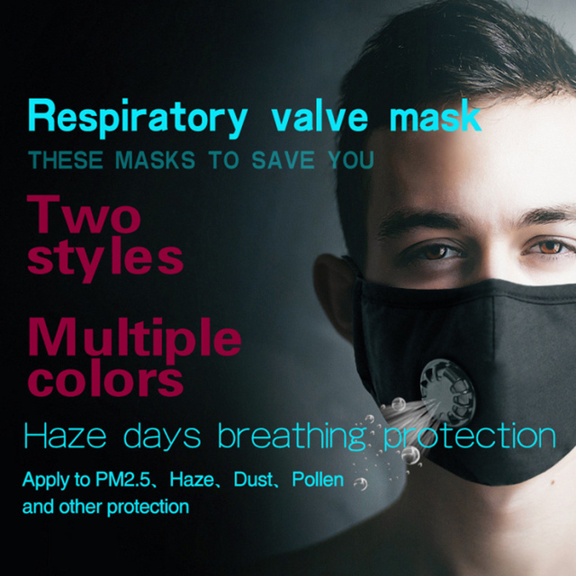 PM2.5 Mouth Mask Anti-dust Mask Reusable Mask with Breathing Valve Cotton Masks Washable Face Masks Filter 1