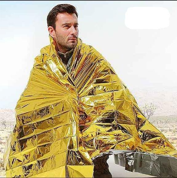 160*210cm Outdoor Emergency Blanket Lifesaving Rescue Blanket Warm Insulation Blanket Sunscreen Survival Emergency Blanket Field
