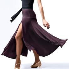 Flamenco Skirt Women Ballroom Long Coffee Elastic Split Left Elegant