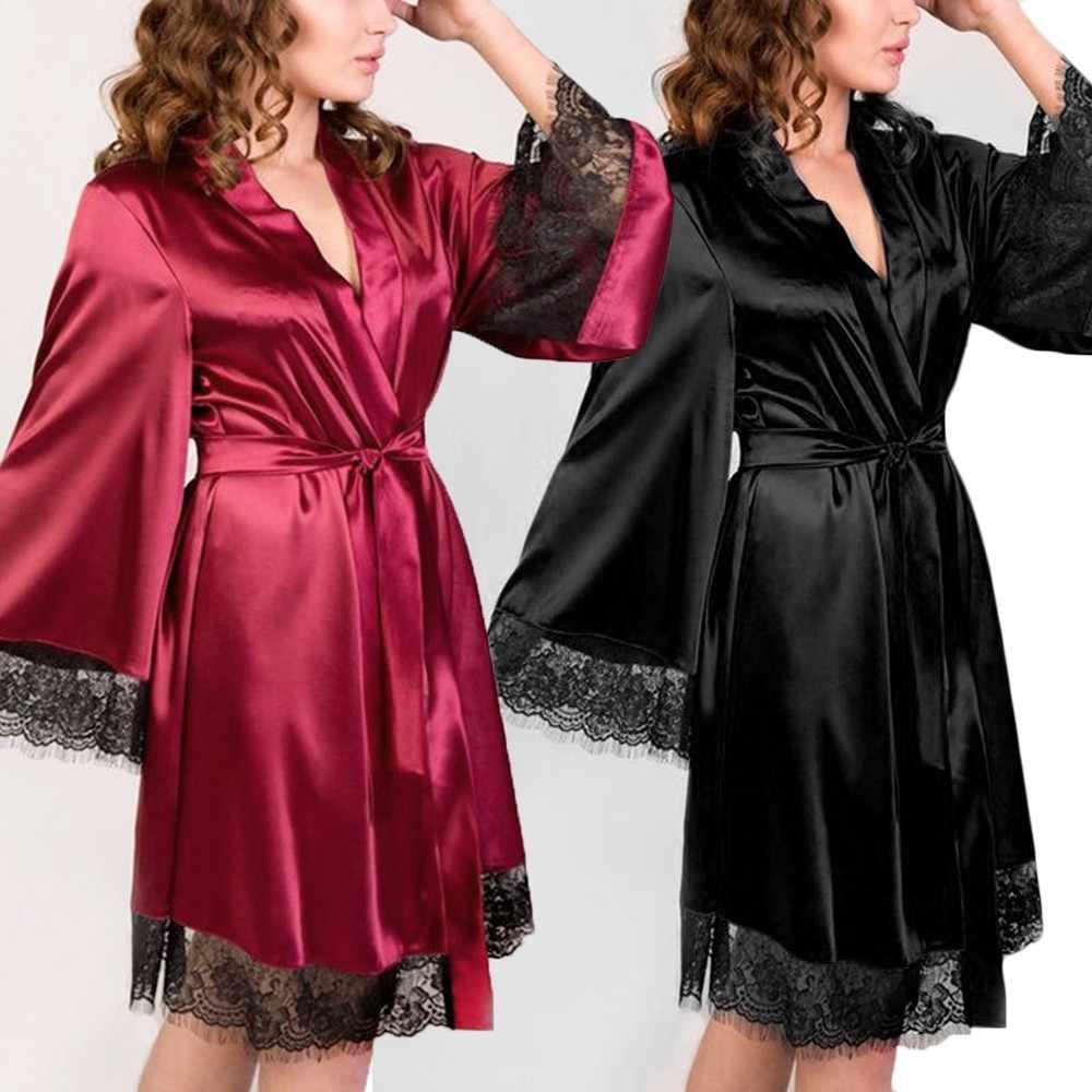 Women Lace Robe,Sexy Silk Kimono Babydoll Dressing Bandage Backless Lingerie Bathrobe Nightgown Set