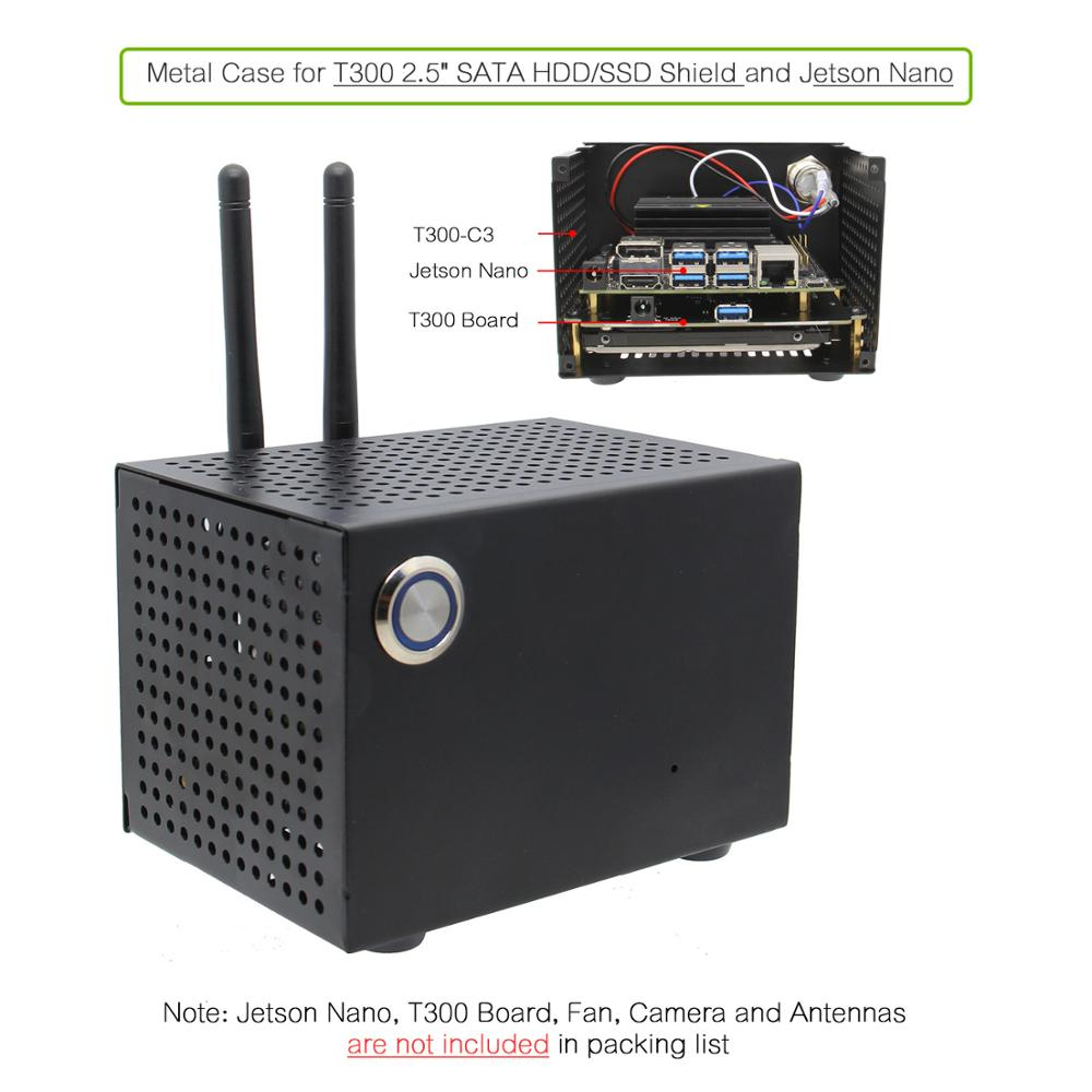 NVIDIA Jetson Nano T300 Metal Case With Power & Reset Control Switch For Jetson Nano And T300 2.5 Inch SATA SSD/HDD Shield