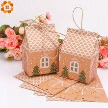 1 conjunto de casa forma sacos de presente de doces de natal com cordas árvore de natal biscoitos sacos feliz natal caixas de embalagem de convidados decoração de festa