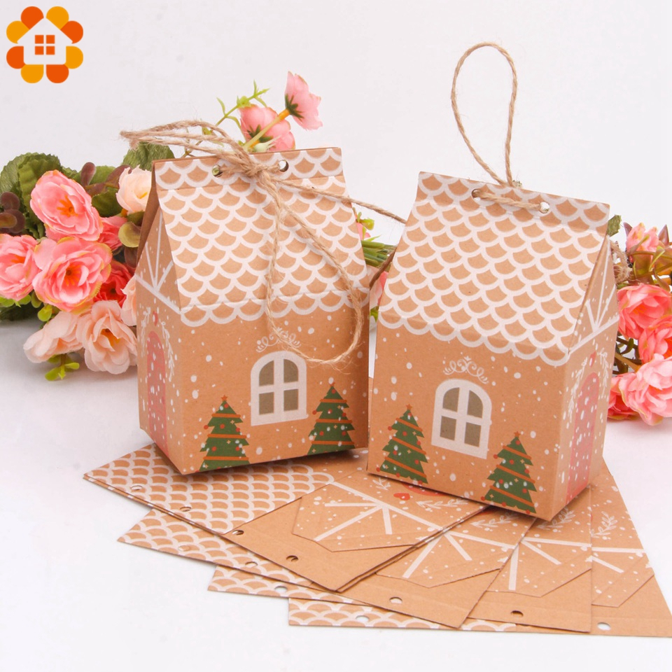 1set House Shape Christmas Candy Gift Bags With Ropes Xmas Tree Cookie Bags Merry Christmas Guests Packaging Boxes Party Decor