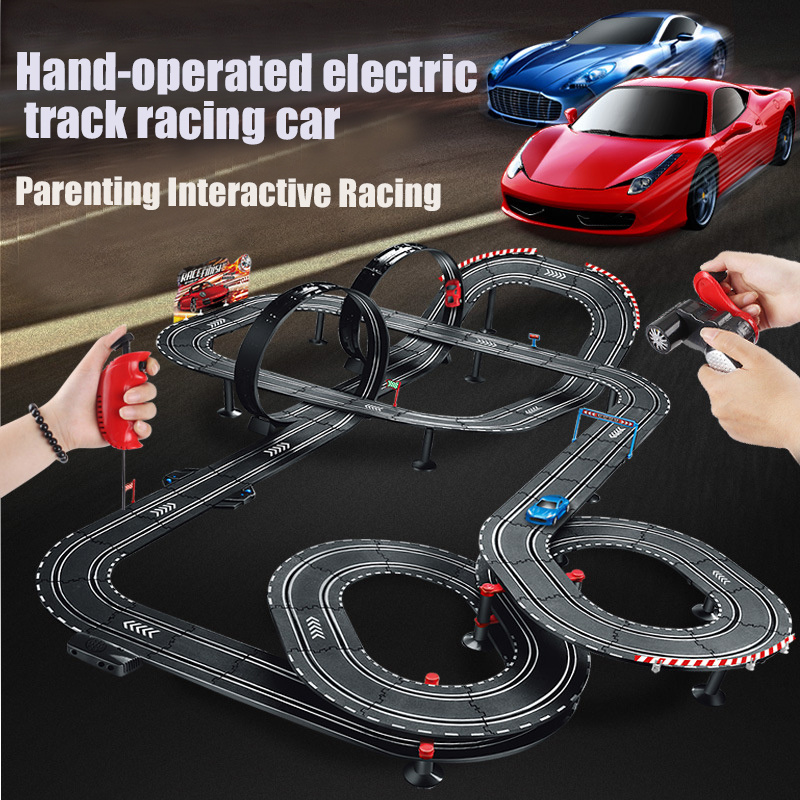 Electric Double Track Slot Car Train Set Autorama Circuit Voiture Radio-controlled Machine Railway Racing Track For Boy Kids Toy