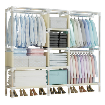 Simple cloth wardrobe folding easy to assemble home detachable rental wardrobe Oxford cloth reinforced wardrobe closet