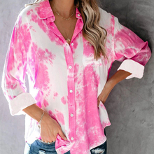 Women Tie Dye Print Skin-friendly Quickly-dry Breathable Shi