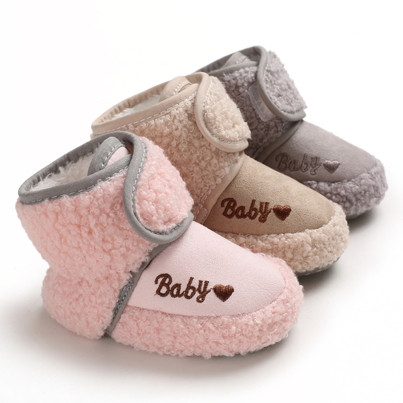 Winter Baby Shoes Solid Color Mid-Tube Velcro Soft Bottom Anti-Slip Thicken Cotton Newborn Boys Girls First Walkers Infant Shoes