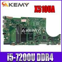 Akemy X510UA For Asus X510U X510UN X510UR X510URR X510UQ Laotop 메인 X510UA 마더 보드 I5-7200U CPU DDR4