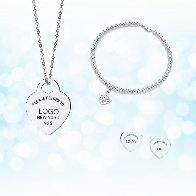 Argent Sterling 925 classique mode argent en forme de coeur dames collier ensemble cadeau de vacances