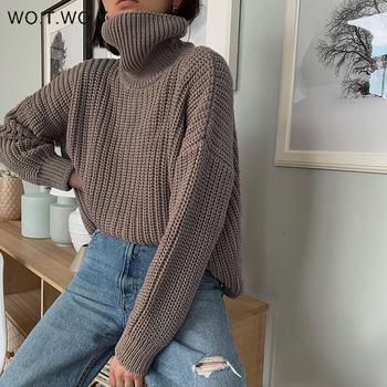 WOTWOY Autumn Winter Turtleneck Loose Sweater Women Solid Basic Knitted Pullovers Women Casual Knitwear Female Jumper Cashmere casual basic turtleneck sweater women knitted pullovers ladies solid sweater jumpers autumn female knitting tops jk153