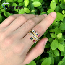 Women CZ Rings, Fashion Jewelry, Unique Design , The Rainbow Series,Gold Color Plated Can Wholesale,5pcs