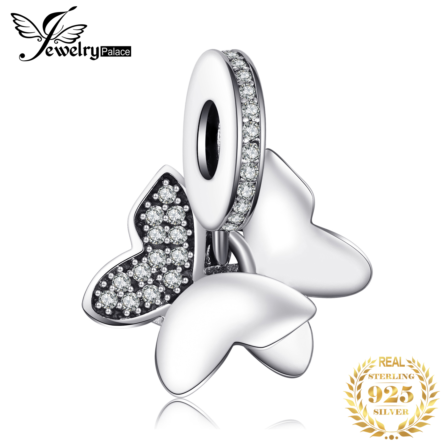 Jewelrypalace Butterfly Fairy White Murano Glass & Pave Cubic Zirconia Charm  Bracelets 925 Sterling Silver