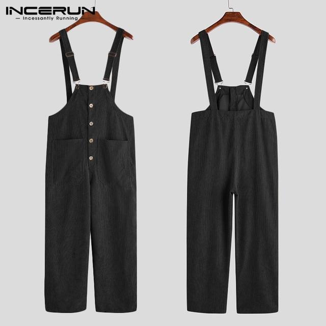 INCERUN Men Corduroy Jumpsuits Solid Bib Pants Loose Streetwear 2020 Suspenders Button Pockets Casual Overalls Men Rompers S-5XL 5