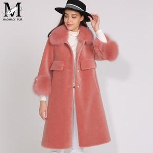 Image 5 - MAOMAOFUR الصوف معطف المرأة فراء ثعلب حقيقي طوق صفعة الدافئة أبلى السيدات جديد أزياء نمط طويل حقيقية الأغنام الفراء سترة