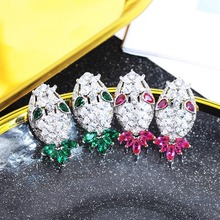 VERY GIRL Unique Design Big Stud Earrings Full Pave Cubic Zircon Crystal  For Woman