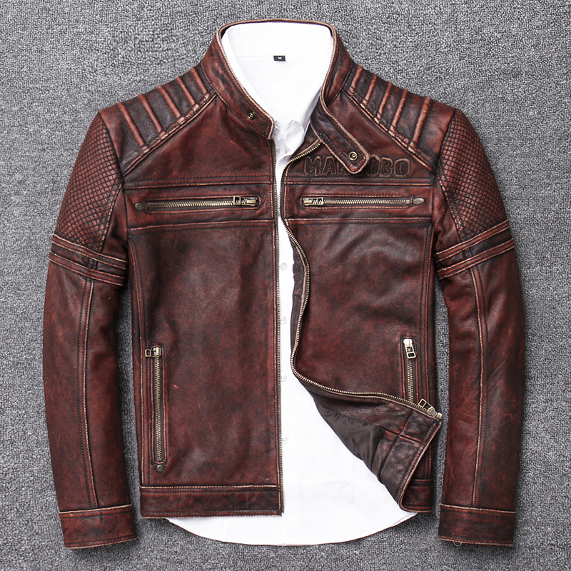 100% Genuine Leather Jacket Men Autumn Winter Clothes 2020 Streetwear Men's Cow Coat Slim Fit Moto Biker Leather Jacket U-15718
