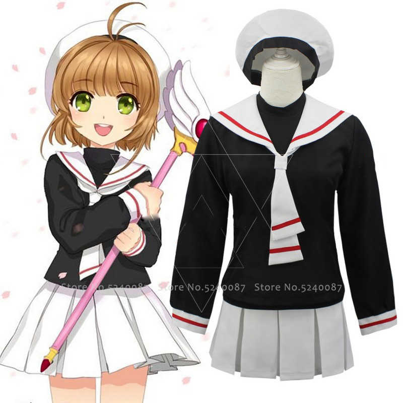 Japanse Anime Card Captor Sakura Cosplay Kostuums Meisjes Navy Kraag Sailor School Uniform Pak Vrouwen Geplooide Rokken Party Dress