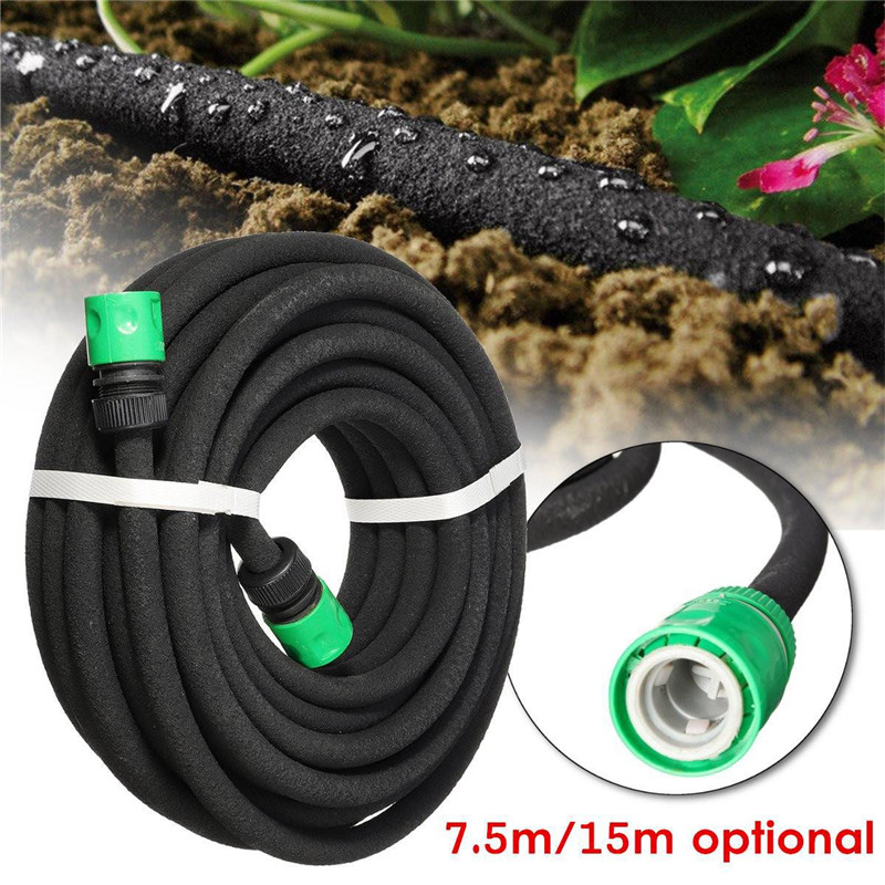 7.5/15m Porous Soaker Hose Micro Drip Irrigation 4/9mm Leaking Tube Anti-aging Permeable Pipe Garden Irrigation Watering Hose