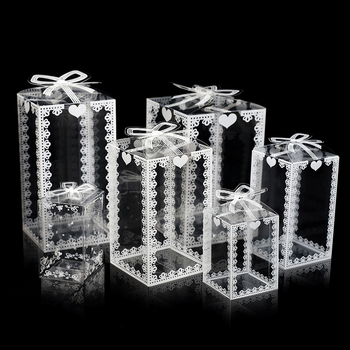 10Pcs Transparent Clear Gift Candy Cake Box Square PVC Chocolate Bags Boxes Wedding Favor Party Event Decoration caja de dulces image