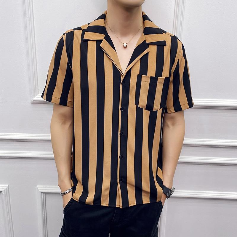 Summer Striped Shirt Men Single Pocket Short Sleeved Casual Shirts Male 2020 New Streetwear Clothing Mens Hawaiian Shirt Sale